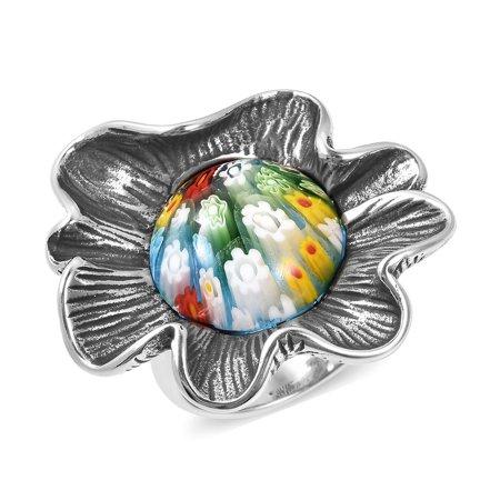 Statement Ring Steel Round Multi Color Murano Millefiori Glass Size -