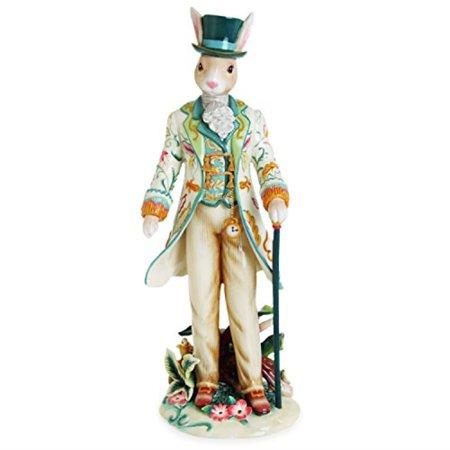 fitz and floyd dapper rabbit male figurine, white