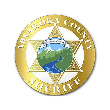 4x4 inch Gold Look Round Sheriff of Absaroka County Badge Sticker -longmire walt