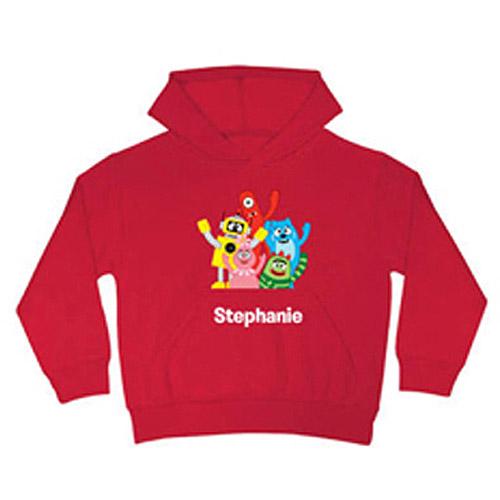 Personalized Yo Gabba Gabba! Gabba Friends Kids' Red Hoodie