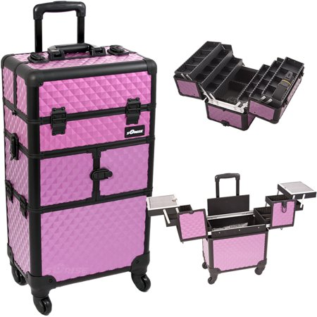 Purple Diamond Pattern 3-Tiers Accordion Trays 4-Wheels Professional Rolling Aluminum Cosmetic Makeup Case and 6-Tiers Extendable Trays with Dividers - I3464