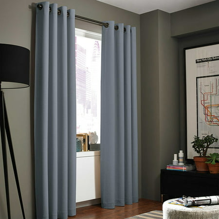 "((#86) Hotel Quality Grommet Top, Jacquard 1 Panel Silver Gray Solid Thermal Foam Lined Blackout Heavy Thick Window Curtain Drapes Bronze Grommets 108"" Length"