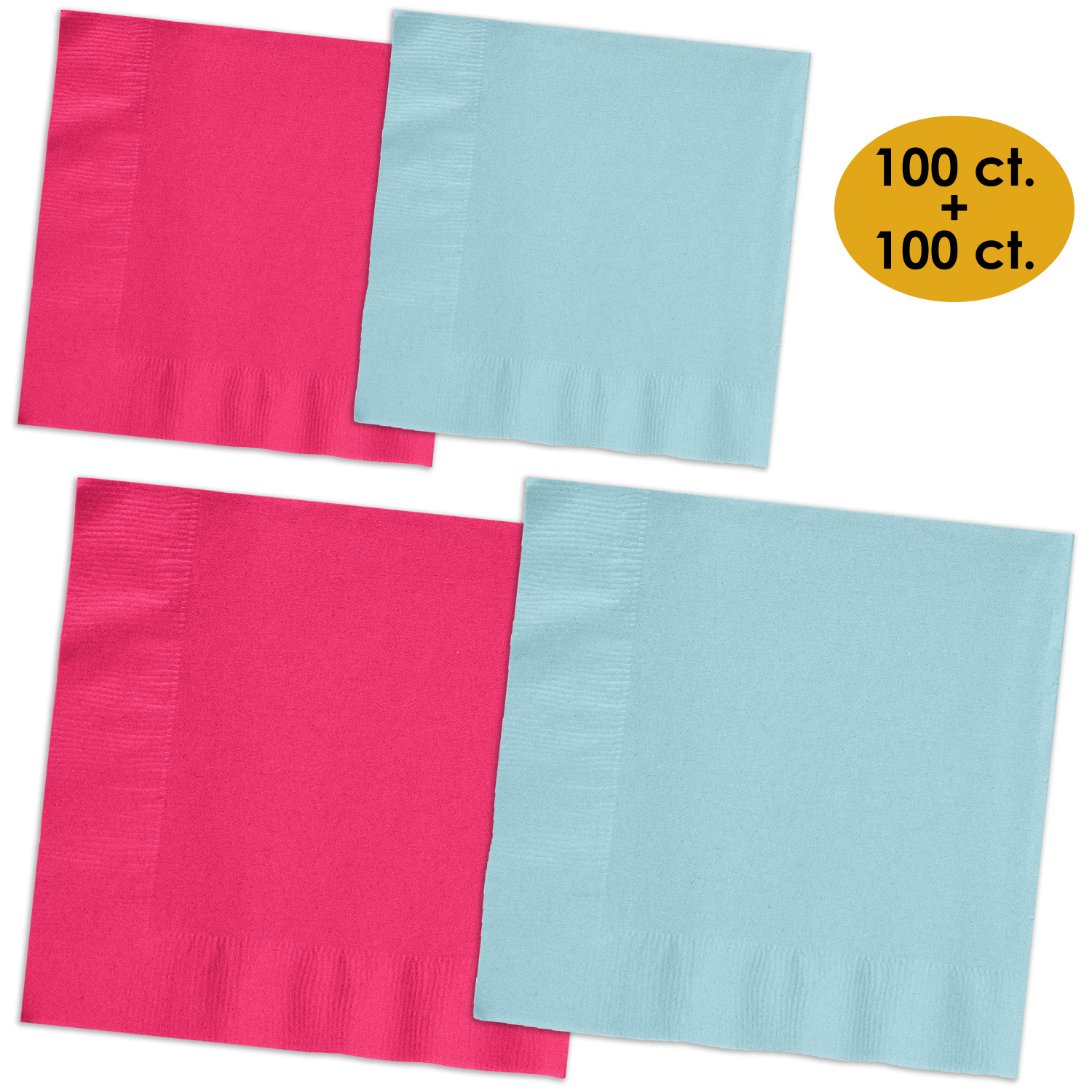 """50 Hot Magenta Pink Birthday Party Tableware 6.5/"""" Paper 2ply Lunch Napkins"""