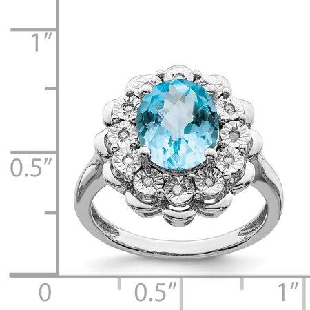 Sterling Silver Rhodium Diam. & Oval Checker-Cut Blue Topaz Ring Size 7 - image 1 de 2