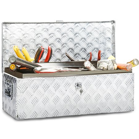 Silver Box Case (Truck Tool Box Aluminum Tool Box Camper Tool Box W/Handle And Lock For Pickup Truck/Trailer 30
