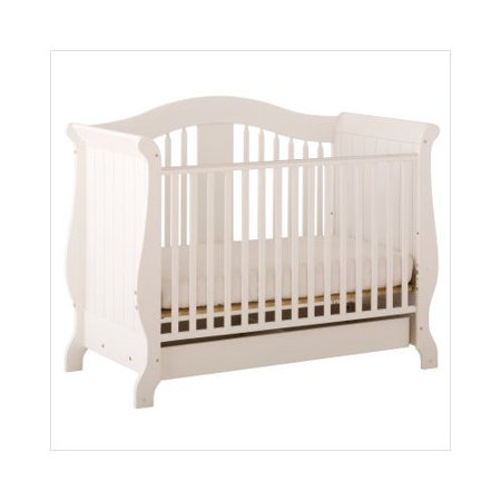 storkcraft aspen stages fixed side convertible crib with drawer in white. Black Bedroom Furniture Sets. Home Design Ideas