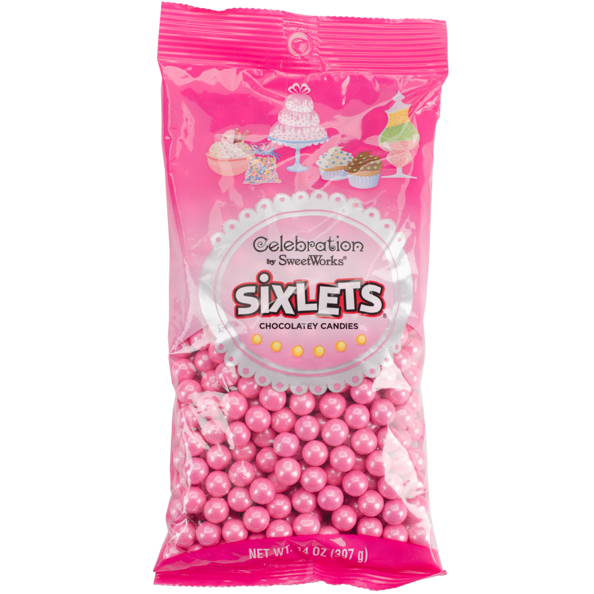 Celebration by SweetWorks Sixlets Chocolate Flavored Pink Candy, 14 oz