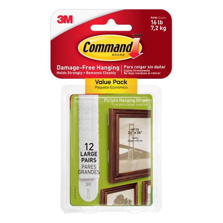 Command Large Picture Hanging Strips, White, 12 Pairs (4 pairs hold ...