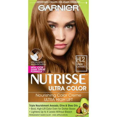 Garnier Nutrisse Ultra Color Nourishing Hair Color Creme, HL2 Warm Caramel,  1 Kit