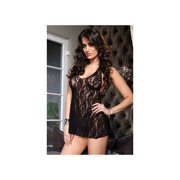 Women's Sexy Stretch Lace Halter Chemise and G-String Panty 2 Piece Set