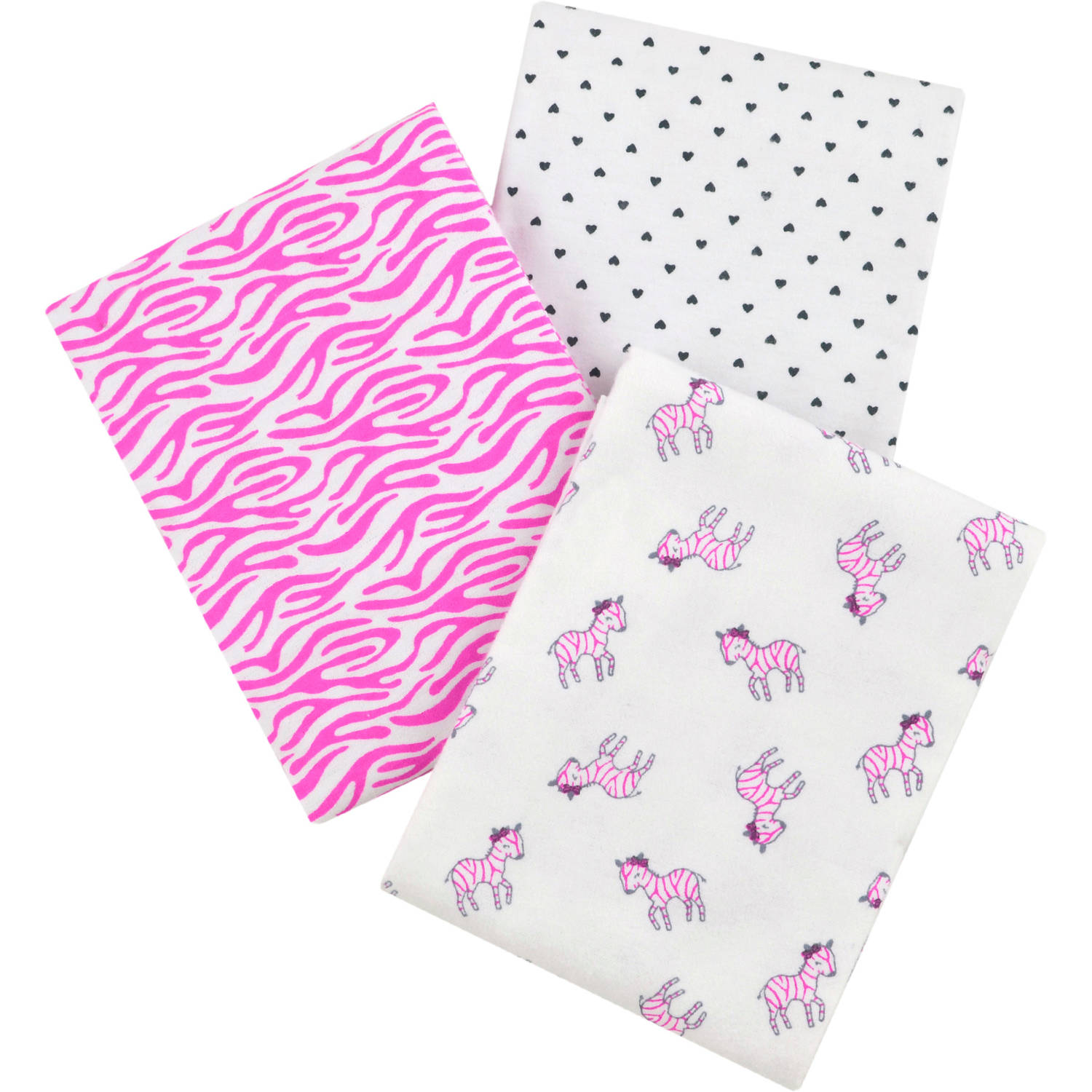 Child of Mine by Carter's Newborn Baby Girl 3-Pack Flannel Receiving Blankets