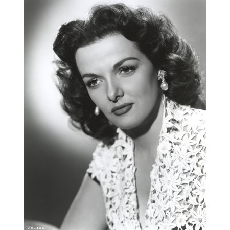 Jane Russell Portrait in White V-Neck Floral Lace Dress with Dangling Pearl Earrings in White Background Photo Print