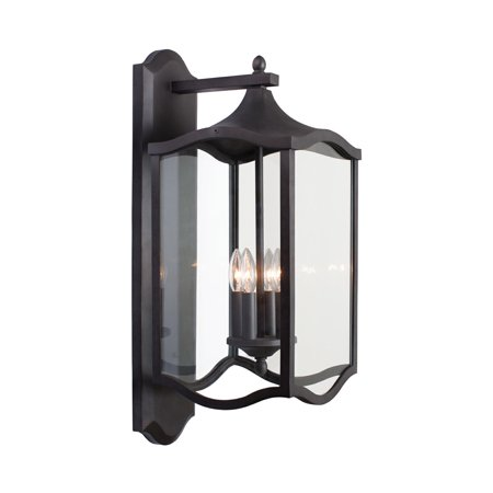 Wall Sconces 4 Light Fixtures With Aged Iron Finish Aluminum/Glass Material E12 11