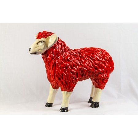 Sheep Fig (LAMINATED POSTER Sheep Gartendeko Plastic Figure Fig Deco Red Poster Print 24 x)