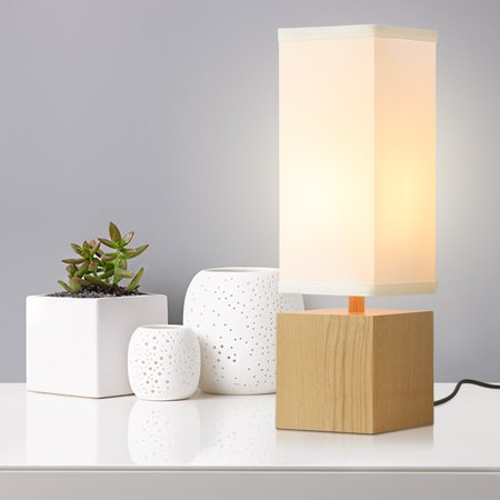 Pleasant Finether 15 H Wood Table Desk Lamp Night Light Rectangular Linen Shade Nightstand Room Decor Download Free Architecture Designs Pushbritishbridgeorg