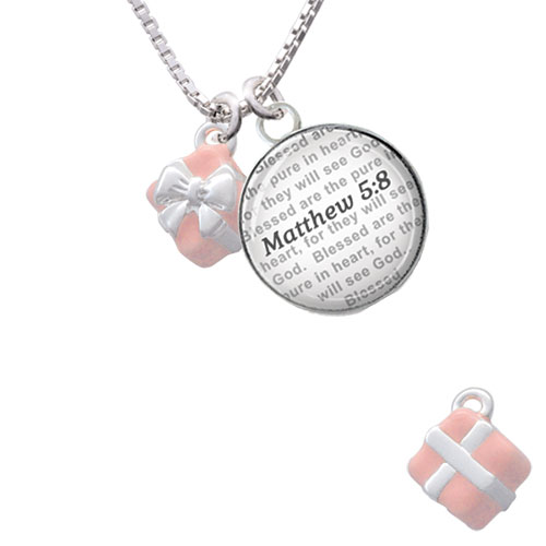 Small 3-D Green Present with Bow Bible Verse Matthew 5:8 Glass Dome Necklace by Delight and Co.