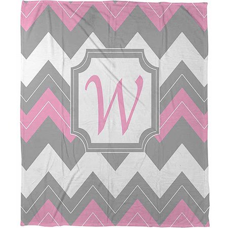 Thumbprintz Chevron Monogram Pink W Coral Fleece Throw, 30