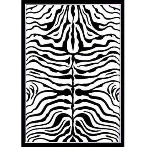 "United Weavers Elements Zebra Woven Polypropylene Area Rug, Black/White, 5'3"" x 7'2"""