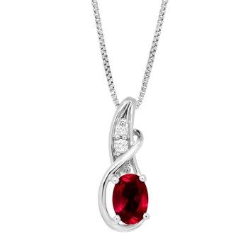1 ct Created Ruby & White Sapphire Twist Pendant