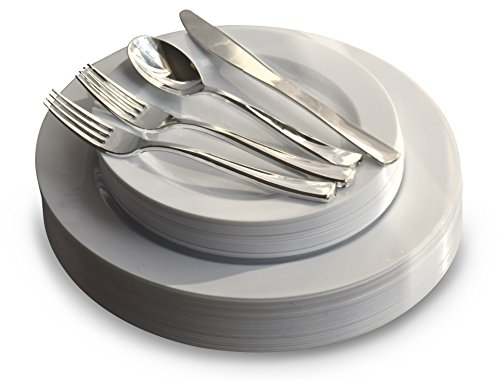 \ OCCASIONS\  Wedding Plastic Plates - Disposable Dinnerware with Silverware for 25 guests - (  sc 1 st  Walmart & OCCASIONS\