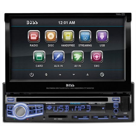 "Boss Bv9976b Car Dvd Player - 7"" Touchscreen Lcd - Single Din - Dvd Video, Video Cd, Mp4, Mpeg, Avi - Am, Fm - Secure Digital [sd], Multimediacard [mmc] - Bluetooth - Auxiliary Input - 2 X (bv9976b)"