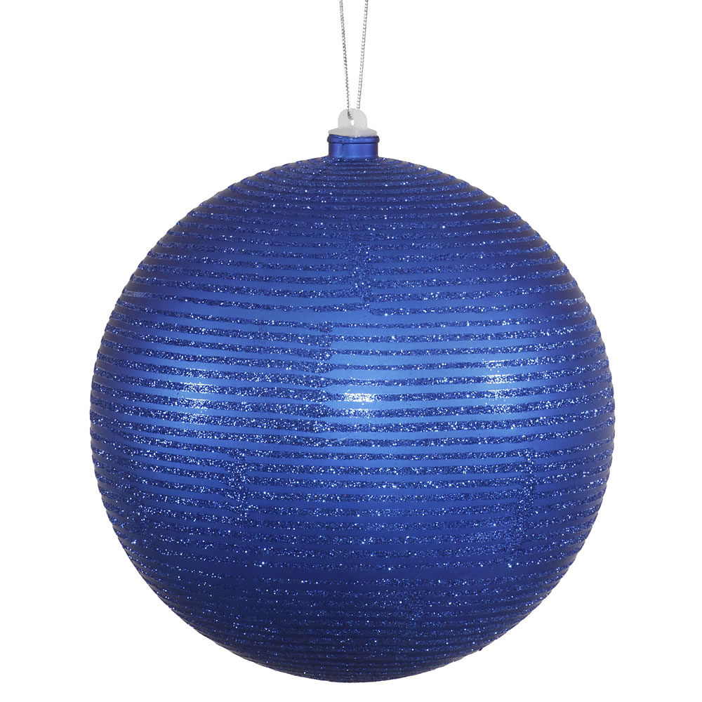 "2ct Royal Blue Matte with Matching Glitter Accent Decorative Christmas Ball Ornament 5.5"" (140mm)"