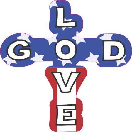 Cross Decal Sticker (4inx4in Patriotic God Love Cross Sticker Christian Car Window Bumper Decal )