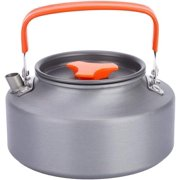 Stainless Steel Teapot, 1.1L Portable Coffee Tea Pot Kettle for Outdoor Camping Hiking Kitchen(Orange Handle)