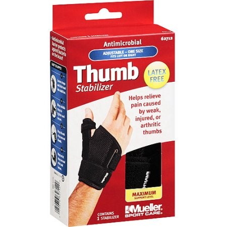 Mueller Sport Care Antimicrobial Thumb Stabilizer, Maximum Support Level, One Size