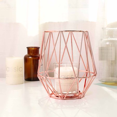 BalsaCircle 2 pcs 6-Inch tall Rose Gold Geometric Tealight Votive Metal with Glass Candle Holder Wedding Party Centerpieces Supplies