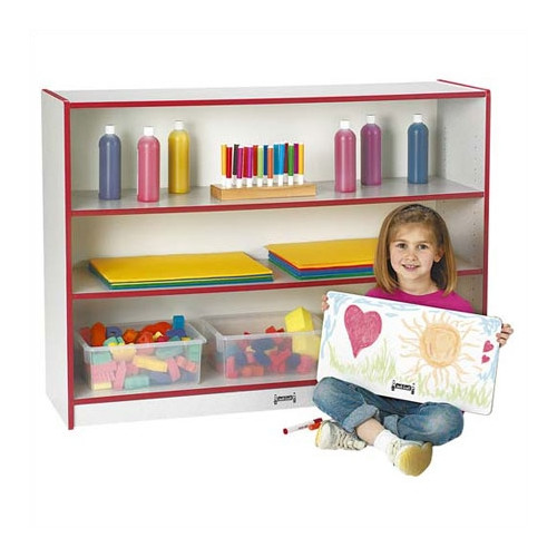 Jonti-Craft Rainbow Accents Super Sized Adjustable Shelving Unit with Casters
