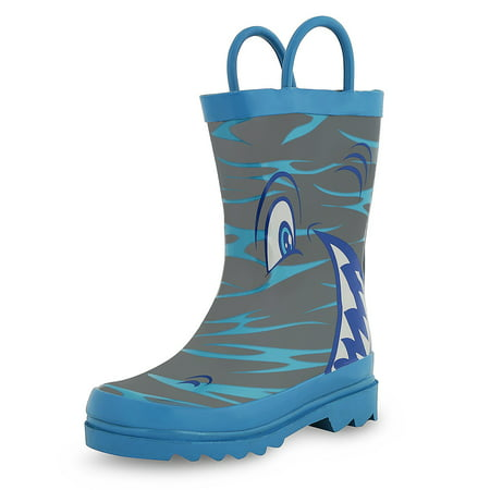Puddle Play Kids Boys' Shark in the Sea Character Printed Waterproof Easy-On Rubber Rain Boots (Toddler/Little - Shrek Kids
