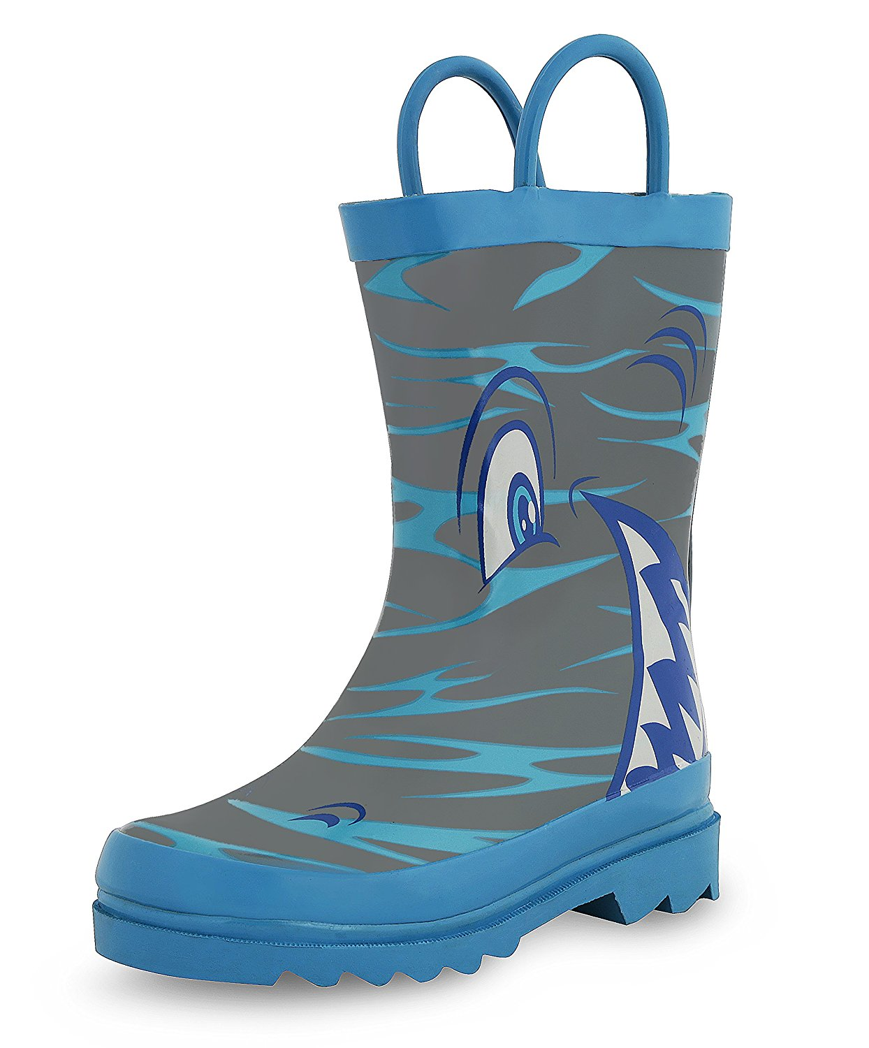 Puddle Play Kids Boys' Shark in the Sea Character Printed Waterproof Easy-On Rubber Rain Boots (Toddler/Little Kids)