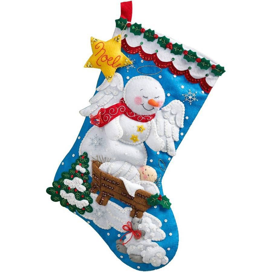 "Snow Angel Stocking Felt Applique Kit, 18"" Long"
