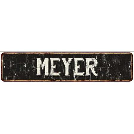 MEYER Street Sign Rustic Chic Sign Home man cave Decor Gift Black (Myer Market Street)