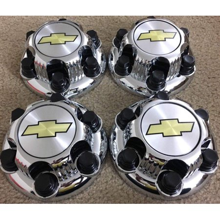 REPLACEMENT PART: Set of 4 Chrome Chevy Silverado 6 Lug 1500 Center Caps 16