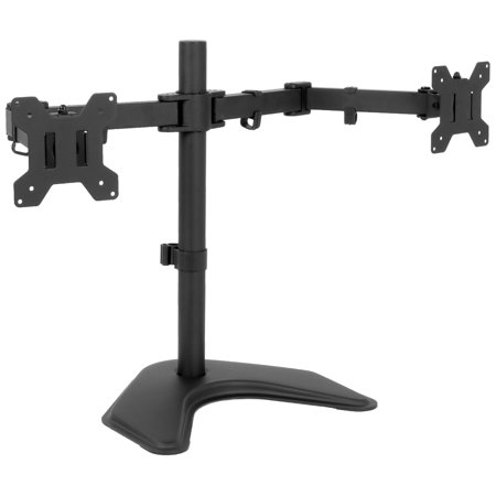 Vivo Full Motion Dual Monitor Free Standing Desk Stand Vesa Mount Double Joints Holds