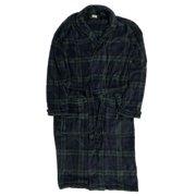 Mens Plush Green & Blue Plaid Fleece Robe House Coat Bathrobe Small/Medium