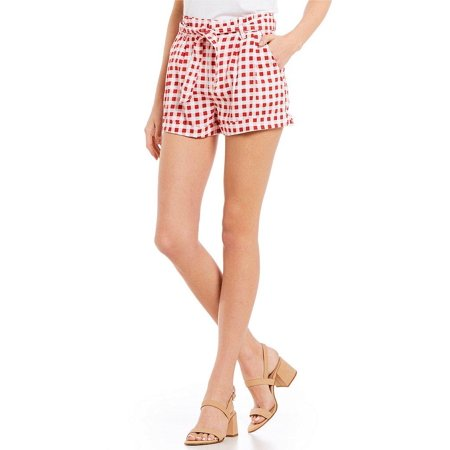 White Women Plaid Pleated Four Pocket Belted Shorts (Belted Pocket)