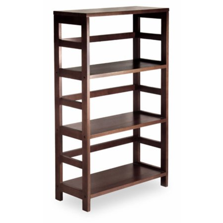 Leo Storage Open Shelf, 4-Tier, 3-Section, Wide, Espresso