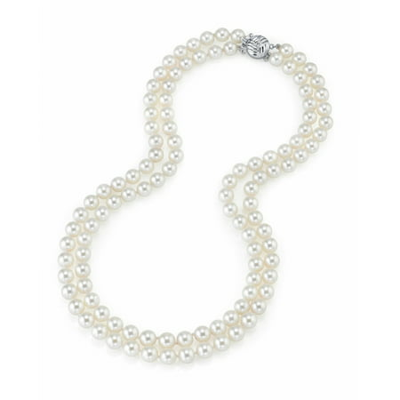 - 14K Gold 7-8mm AAA Quality Double Strand White Freshwater Cultured Pearl Necklace for Women in 18-19 Princess Length