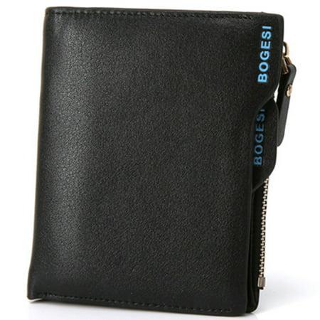 - Vertical Men's ID Cridit Card Slots PU Bifold Style Short Wallet Zipper Coin Money Purse