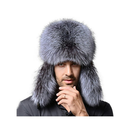 Mens Winter Warmer Faux Fur Trapper Ski Russian Ushanka Trapper Bomber Hat Gift