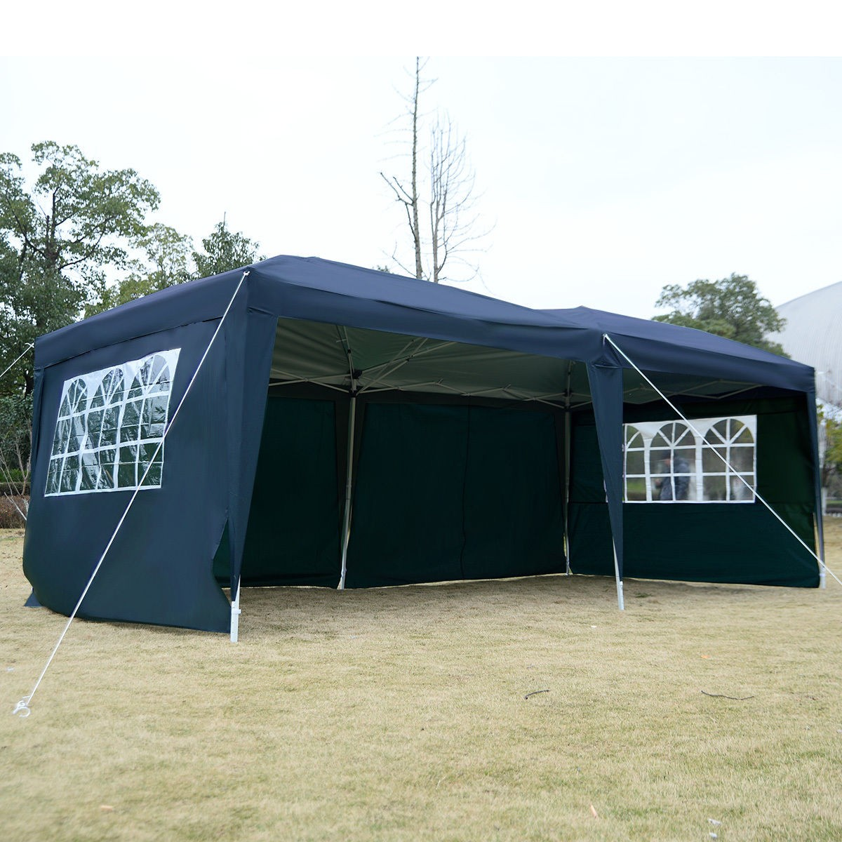 Apontus Outdoor Easy Pop Up Tent Cabana Canopy Gazebo with Walls 10' x 20' Blue by Apontus