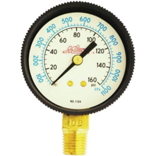 Milton MIL1194 Air Pressure Gauge- . 25'' Bottom Back- 0-160 PSI
