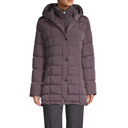 Petite Square-Quilt Gilet Puffer Down Coat (Military Jacket Women Grey)