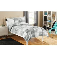 Mainstays Kid Gray Plaid Bed in a Bag Bedding Set