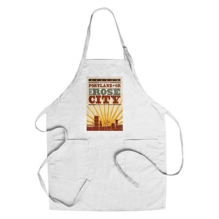 Portland  Oregon   Skyline   Sunburst Screenprint Style   Lantern Press Artwork  Cotton Polyester Chefs Apron