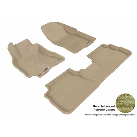 3D MAXpider 2009-2013 Toyota Corolla Front & Second Row Set All Weather Floor Liners in Tan Carpet