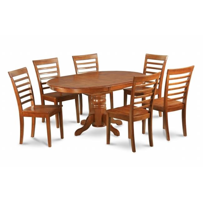 East West Furniture AVML5-SBR-W 5PC Oval Dining Set with Single Pedestal with 18 in. leaf Table and 4 Wood seat Ladder Back chairs